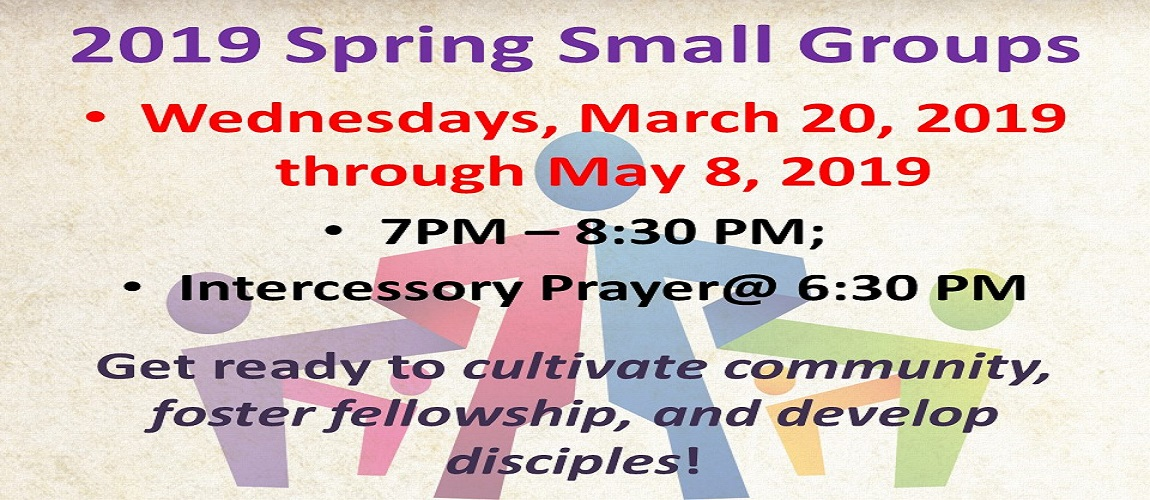 Spring 2019 Small Groups – Slide One